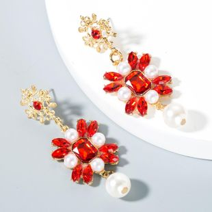 Vintage exaggerated flower pearl alloy earrings NHLN153395's discount tags