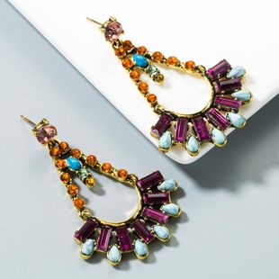 Vintage turquoise claw chain multi-layer artificial gemstone geometric earrings NHLN153396's discount tags
