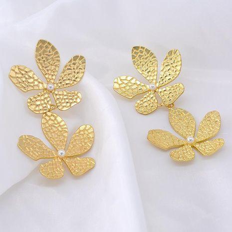 Long asymmetric flower pearl metal stud earrings NHNT153401's discount tags