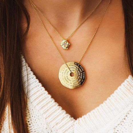 Fashion simple alloy artificial gemstone geometric pendant necklace NHMD153404's discount tags