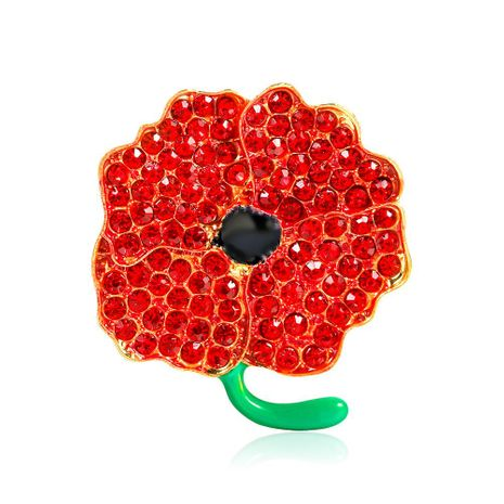 Fashion drip with diamonds poppy red brooch NHDR153408's discount tags