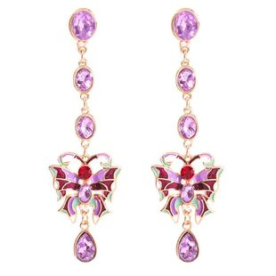 Palace wind color diamond butterfly colorful alloy earrings NHMD153409's discount tags