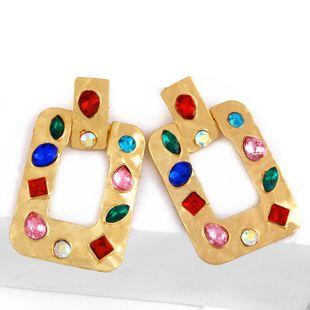 Original new alloy artificial gemstone geometric earrings NHAS153411's discount tags