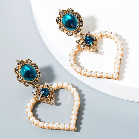 Womens Heart-Shaped Pearl Alloy Earrings NHLN153435's discount tags