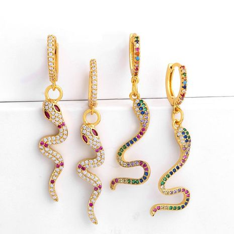 Fashion snake-shaped zircon alloy earrings NHAS153439's discount tags