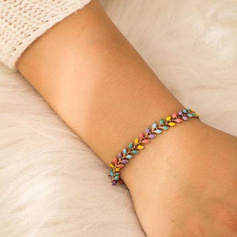 Temperament wind color leaf drop oil alloy women's bracelet NHGY153440's discount tags