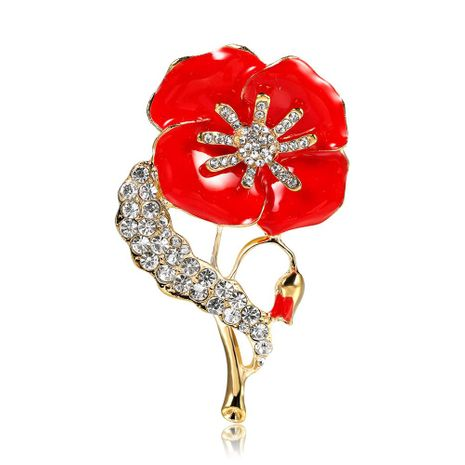 Fashion artificial gem poppy red brooch NHDR153446's discount tags