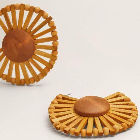Fashion fan-shaped woven hollow alloy earrings NHLL153450's discount tags
