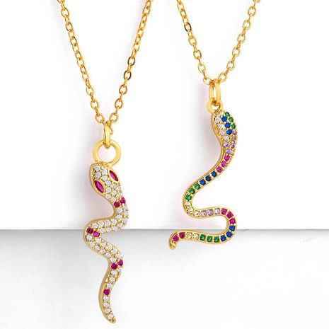 Creative artificial gemstone snake necklace NHAS153466's discount tags