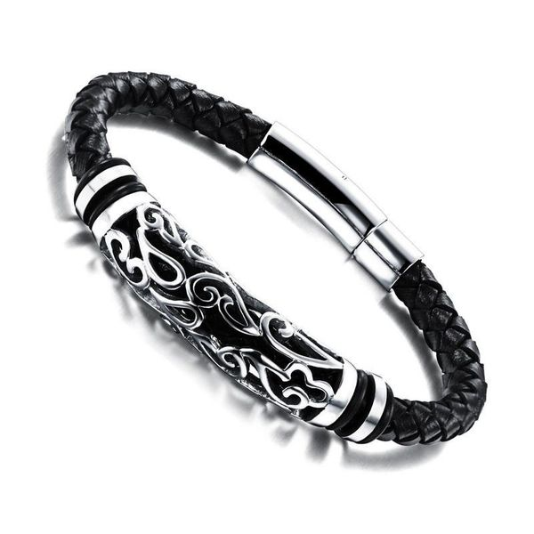 Fashion chain leather rope braided hand rope NHOP153475