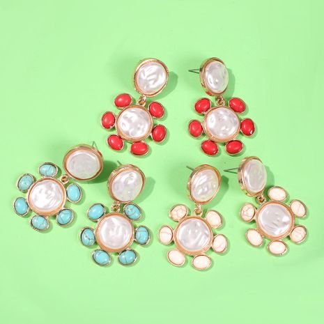 Colored resin imitation pearl geometric flower earrings NHMD153476's discount tags