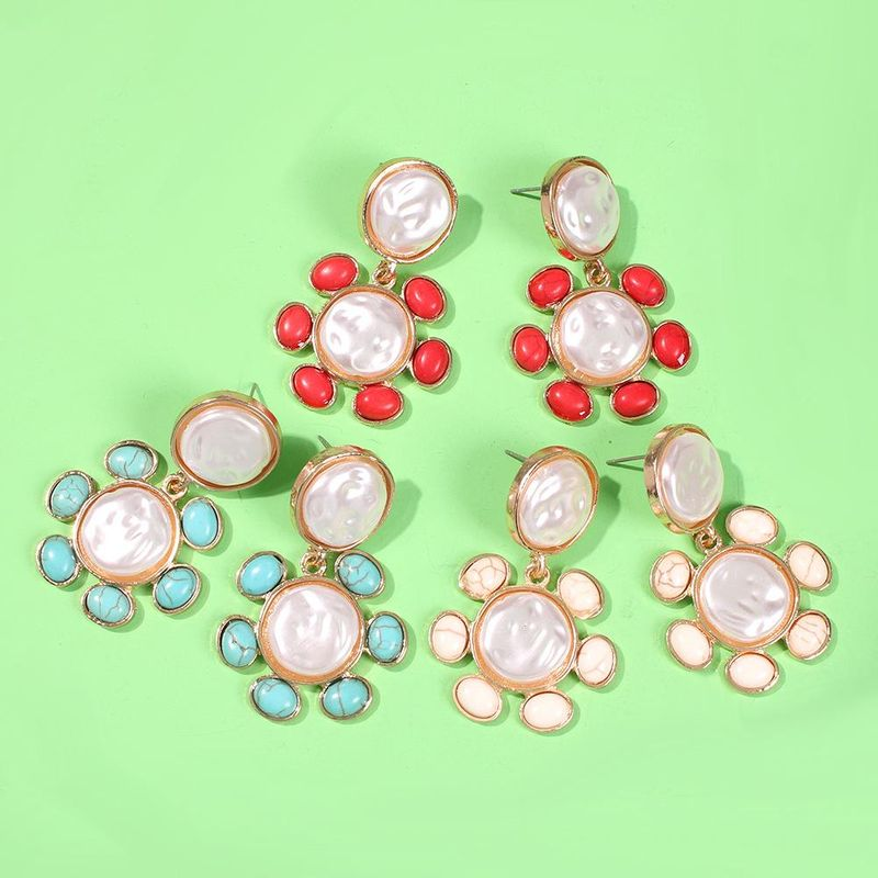 Colored resin imitation pearl geometric flower earrings NHMD153476