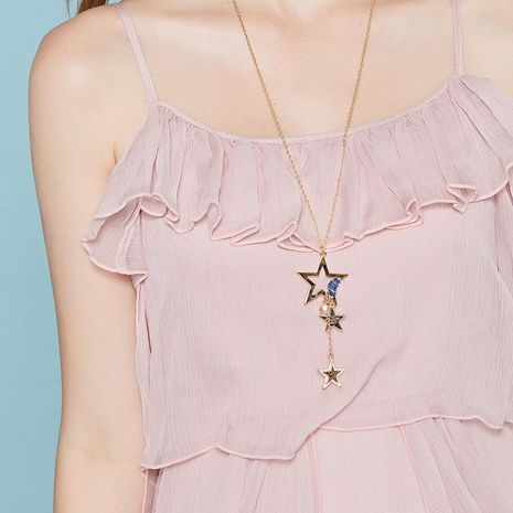 Fashion star denim sweater chain necklace NHLL153478's discount tags