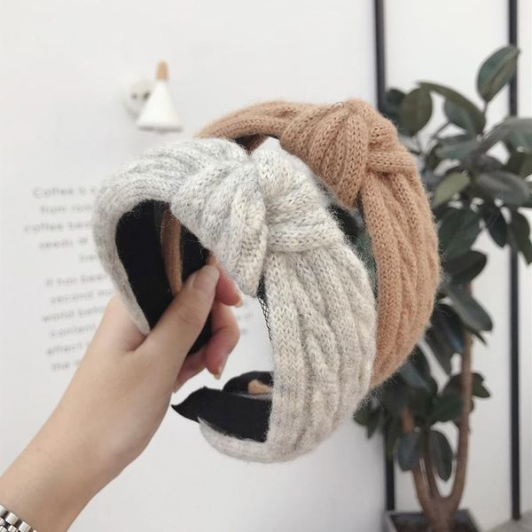 Korean version of the wool woven twist braid knotted knot wide-brimmed headband NHSM153479