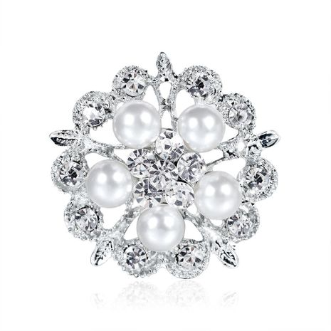 Korean version of the artificial gemstone rhinestone pearl flower brooch NHDR153483's discount tags