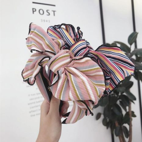 Korean version of stretch knit fabric striped contrast bow headband NHSM153484's discount tags