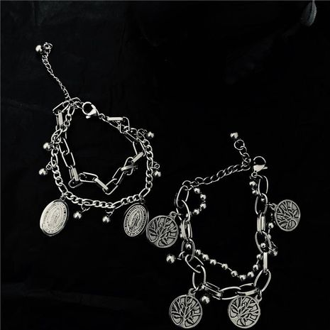 Punk style old retro stainless steel couple bracelet NHYQ153489's discount tags