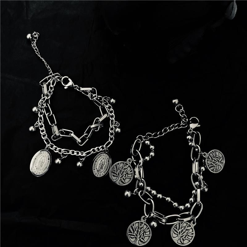 Punk style old retro stainless steel couple bracelet NHYQ153489