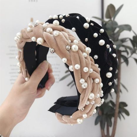 Gold velvet fabric beaded twist braid wide-brimmed headband NHSM153493's discount tags