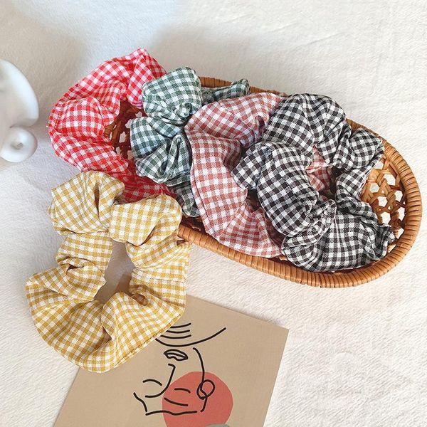 Fresh plaid simple and cute small plaid cotton fabric hair ring NHOF153506