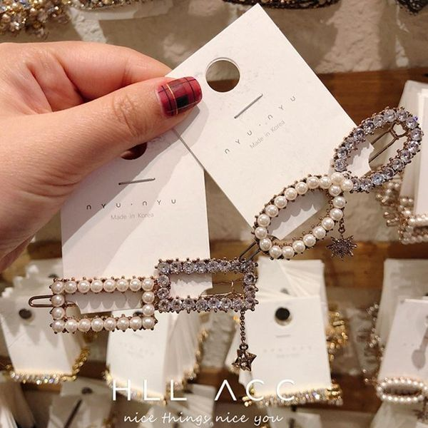 Fashion splicing pearl artificial gemstone super flashing hair accessories NHOF153513
