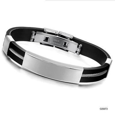 Korean version of silica gel titanium steel bracelet NHOP153515