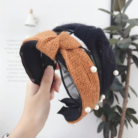 Fashion small incense ins yarn mesh beaded wide-brimmed headband NHSM153518's discount tags