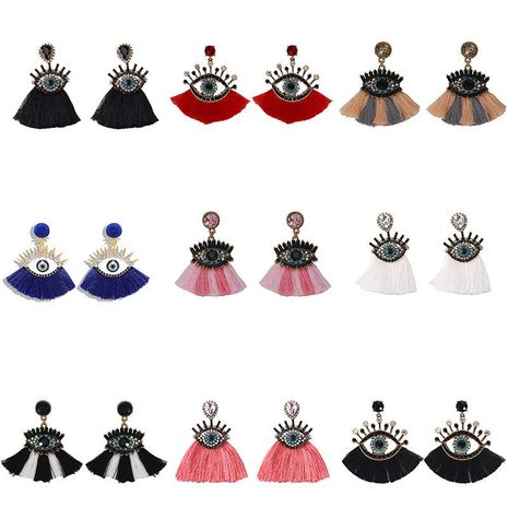Fashion Alloy Diamond Devil's Eye Tassel Earrings NHJQ153555's discount tags