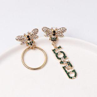Fashion color diamond round LOVE bee asymmetric earrings NHJJ153558's discount tags