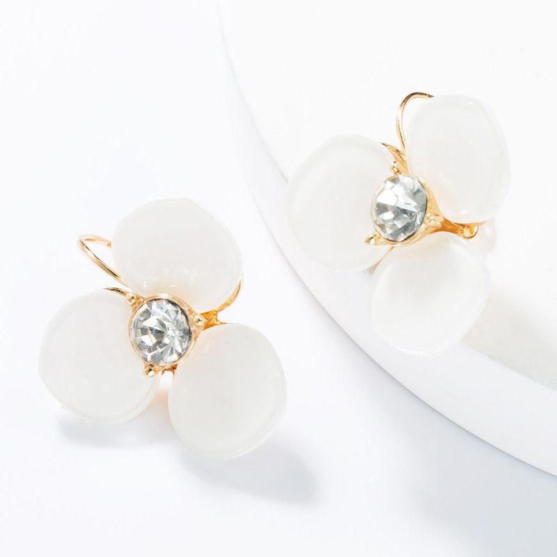 New alloy diamond-studded rhinestone acetate flower hoop earrings NHJE153563