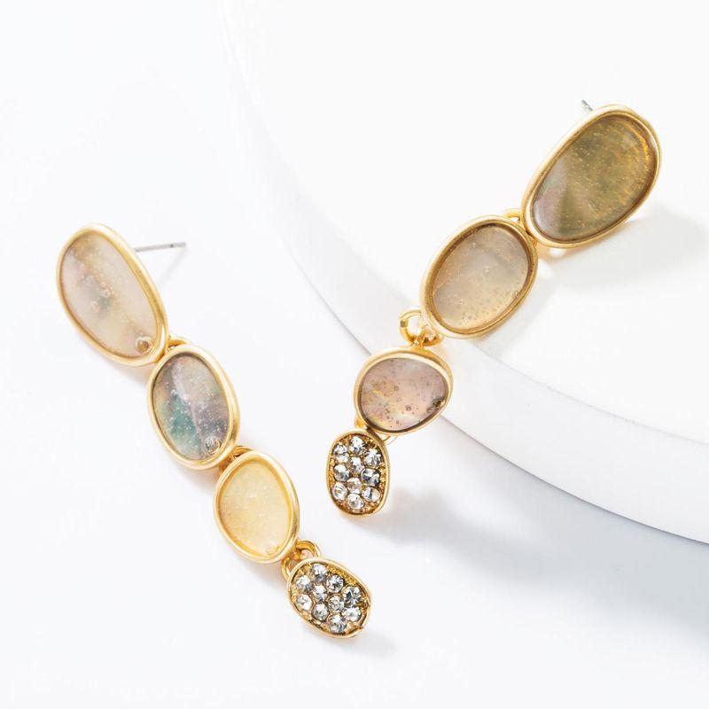 Fashion multi-layer geometric alloy drop oil rhinestone earrings NHJE153571