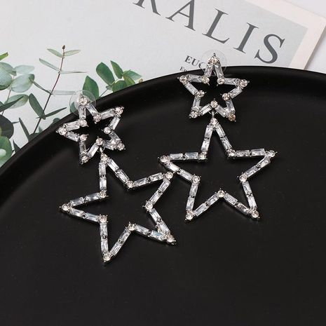 Fashion full diamond five-pointed star earrings NHJJ153572's discount tags