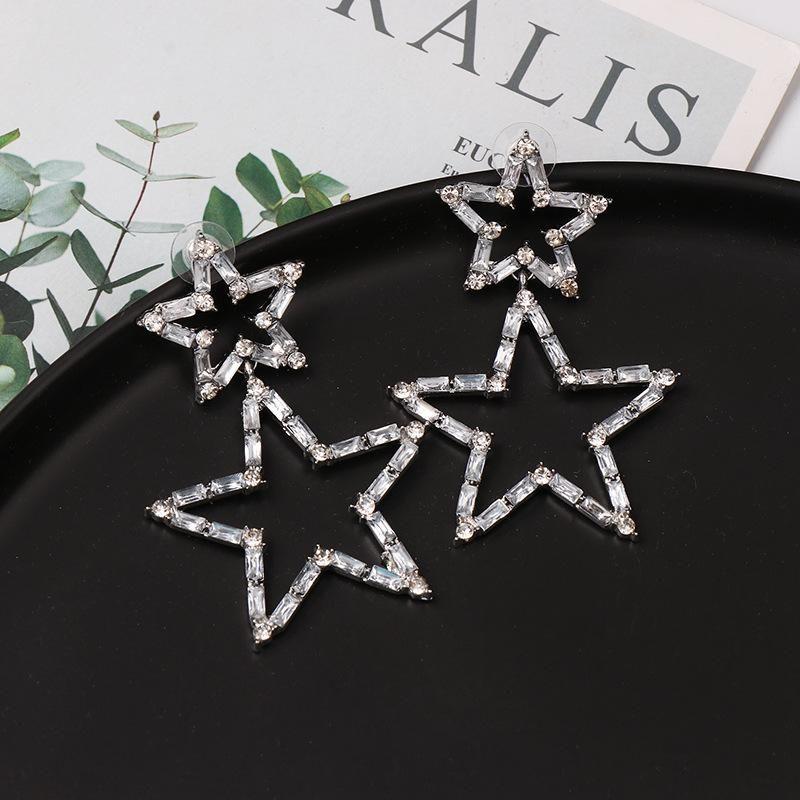 Fashion full diamond five-pointed star earrings NHJJ153572