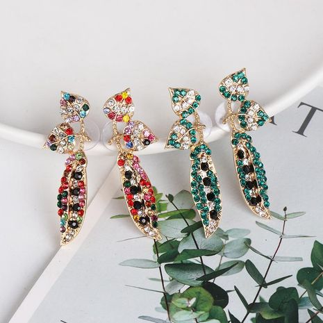 New colored rhinestone leaf earrings NHJJ153573's discount tags