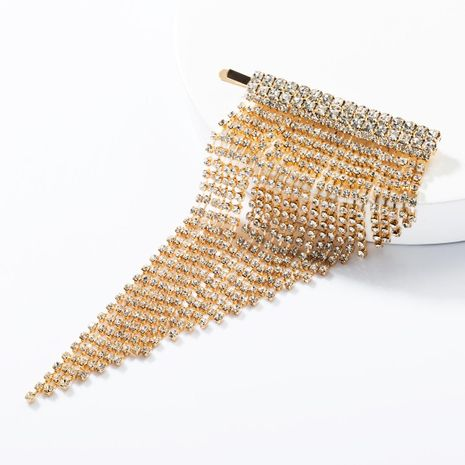 Fashion alloy rhinestone tassel hair clip NHJE153577's discount tags