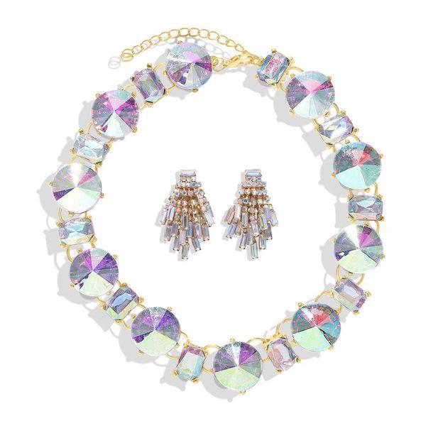 Conjunto de pendientes de collar de diamantes completo de moda NHJQ153587