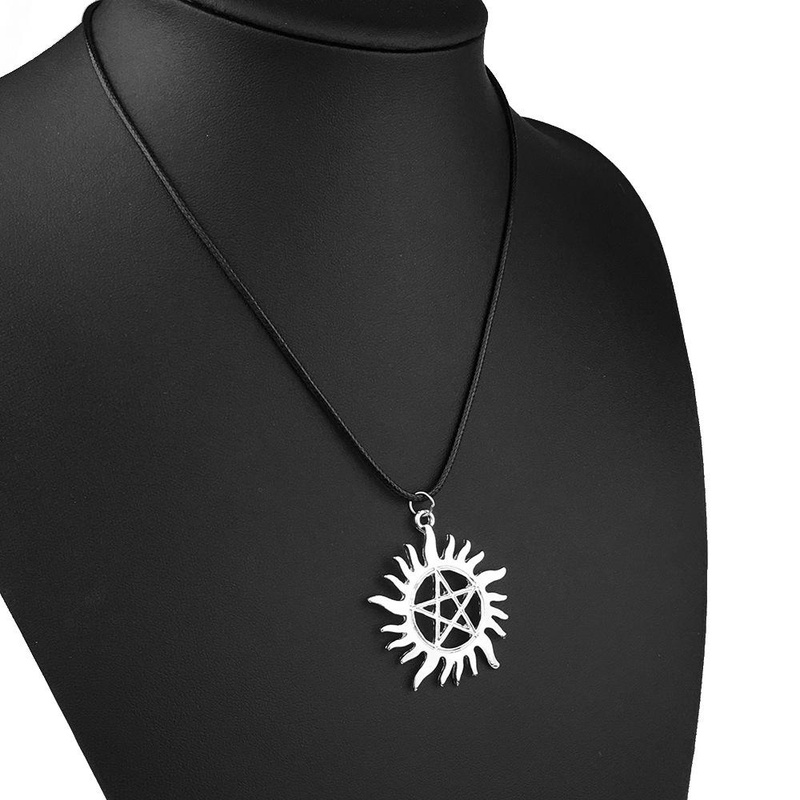 Fashion five-pointed star sun flower leather rope necklace NHPV153597