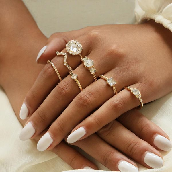 Fashion new diamond-studded gemstone rings NHPV153626