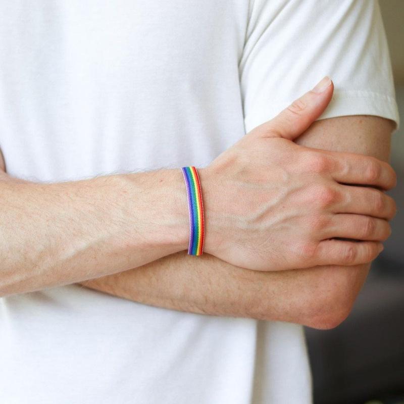 Simple rainbow rope bracelet NHPV153631
