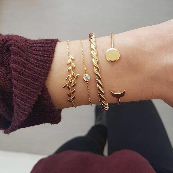 Fashion Leaf Twist Crescent Moon Disc Alloy Bracelet Set NHPV153652