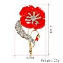 Broche mode pavot gemme artificielle rouge NHDR153446