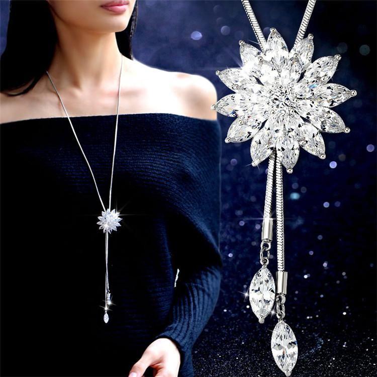 Fashion zircon snowflake sweater chain long necklace NHMS148852