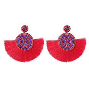 Europe and the United States wind wave Simia rice beads tassel earrings NHMD148908's discount tags