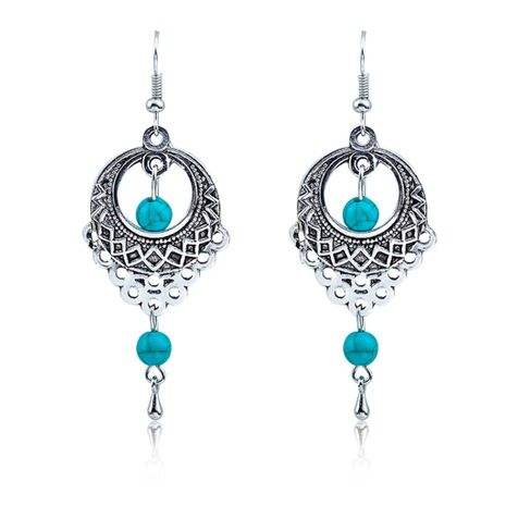Fashion vintage ethnic wind hollow turquoise water drops tassel earrings NHDP148929's discount tags