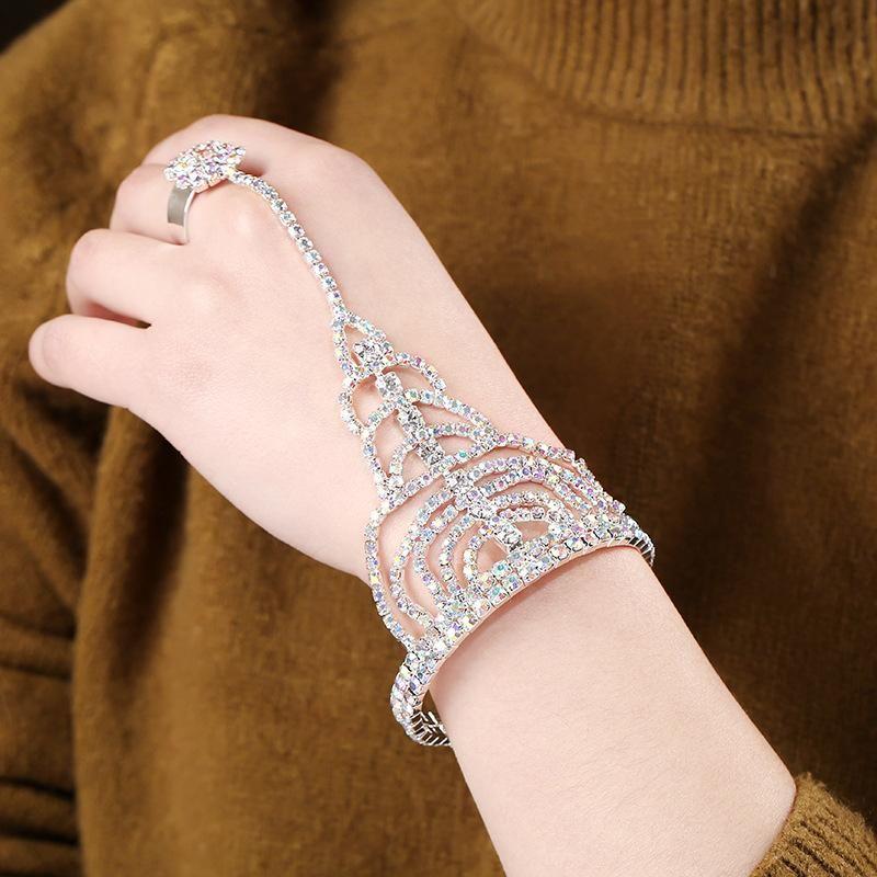 Diamante de imitación europeo y americano con anillo ajustable de pulsera con cadena de una mano NHKQ148945