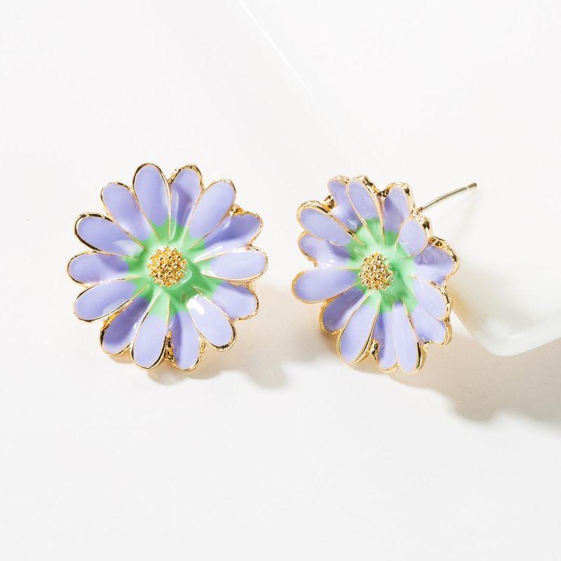Fashion small fresh S925 silver needle alloy drop oil flower earrings NHJE148996