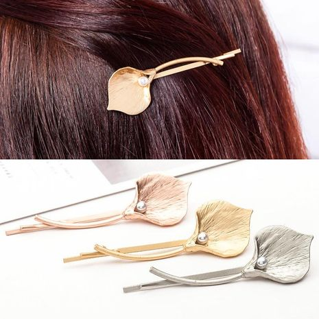 Simple lady metal flower pearl hair accessory NHDP149025's discount tags
