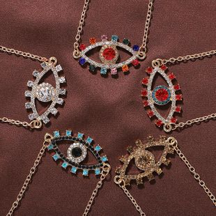 Creative big eye artificial gemstone alloy necklace NHJQ149028's discount tags
