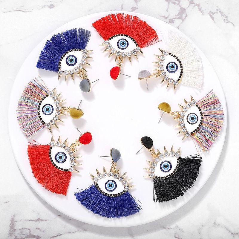 Vintage drip-encrusted eye tassel earrings NHJQ149034