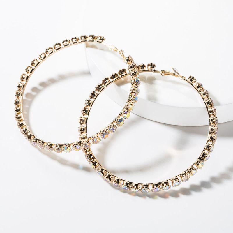 Womens Big Circle Rhinestone Earrings NHJE149042